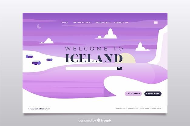 Bem-vindo à página de destino da islândia