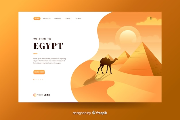Bem-vindo à página de destino do egypt
