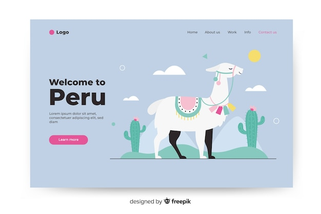 Bem-vindo à página de destino do peru com ilustrações