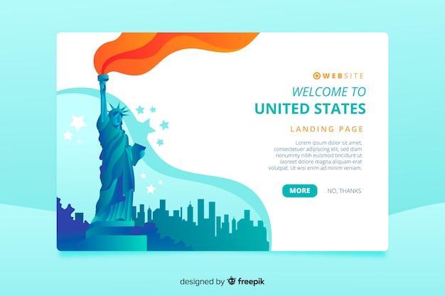 Bem-vindo à página de destino dos estados unidos