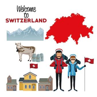 Bem-vindo à suíça com elementos tradicionais do país e dos esquiadores