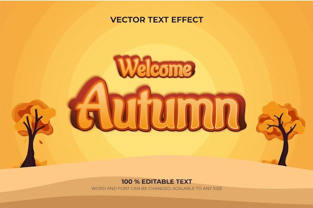 Bem-vindo ao autum, efeito de texto editável em 3d com estilo de fundo de árvore