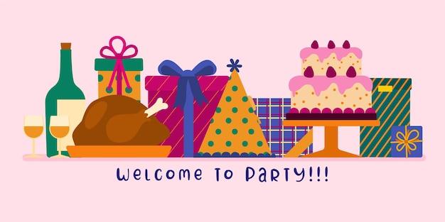 Bem-vindo ao banner da festa e ao ativo do elemento celebration cartoon illustration