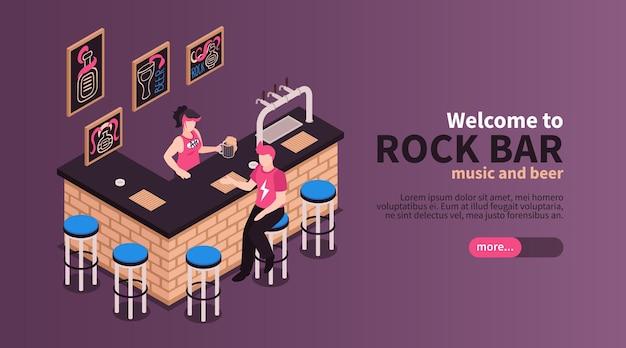 Bem-vindo ao banner horizontal do rock bar com elementos do interior e oferecendo música e cerveja