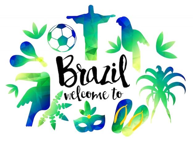 Bem vindo ao brasil. icon set travel e conceito de turismo. antecedentes do brasil
