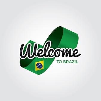 Bem-vindo ao brasil, ilustração vetorial sobre fundo branco.