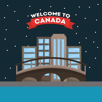 Bem-vindo ao canadá montreal cidade vector illustration