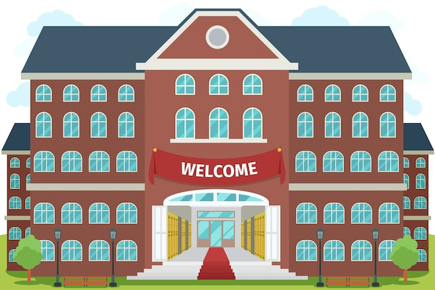Bem-vindo ao colégio. estudo universitário, edifício de construção de arquitetura, exterior e frontal,