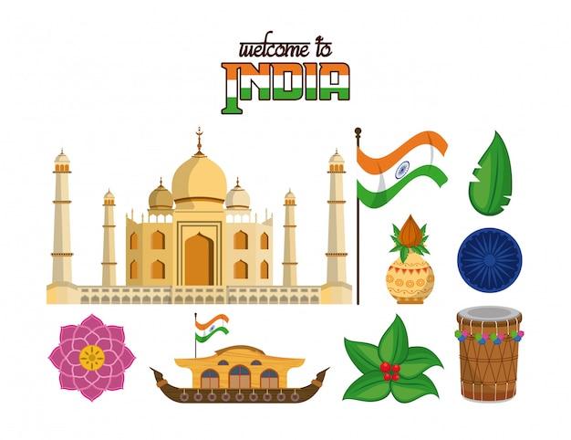 Bem-vindo ao conjunto de emblemas de turismo da índia