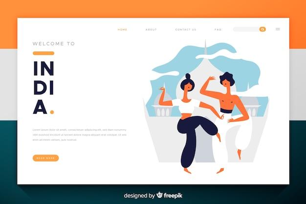 Bem-vindo ao design plano da página de destino da índia