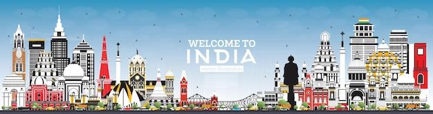 Bem-vindo ao horizonte da cidade da índia com edifícios coloridos e céu azul. délhi. mumbai, bangalore, chennai, hyderabad, calcutá, patna, visakhapatnam.