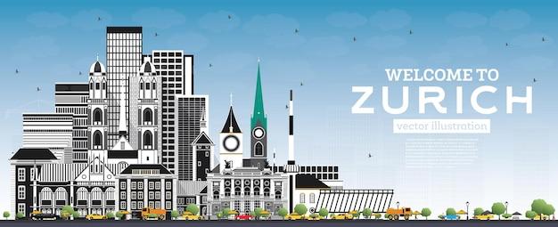 Bem-vindo ao horizonte de zurique, suíça, com edifícios cinzentos e céu azul. ilustração vetorial. conceito de turismo com arquitetura histórica. paisagem urbana de zurique com pontos turísticos.