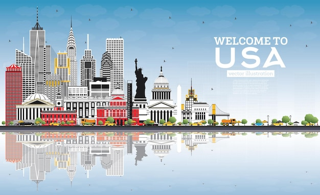 Bem-vindo ao horizonte dos eua com edifícios cinzentos, céu azul e reflexos. marcos famosos nos eua. ilustração vetorial. conceito de turismo com arquitetura histórica. eua cityscape com pontos de referência.