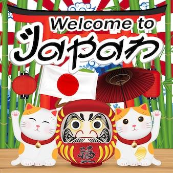 Bem-vindo ao japão com maneki cat e boneca daruma