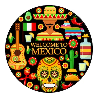 Bem-vindo ao méxico. atributos mexicanos tradicionais coloridos. ilustração vetorial