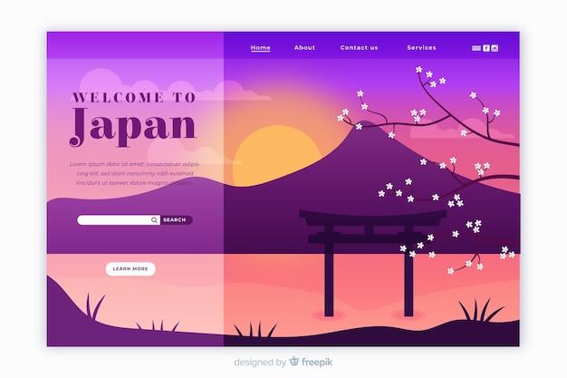 Bem-vindo ao modelo de página de destino do japão com paisagem