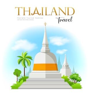 Bem-vindo ao pagode branco com tecido amarelo wat phra mahathat woramahawihan sul da tailândia