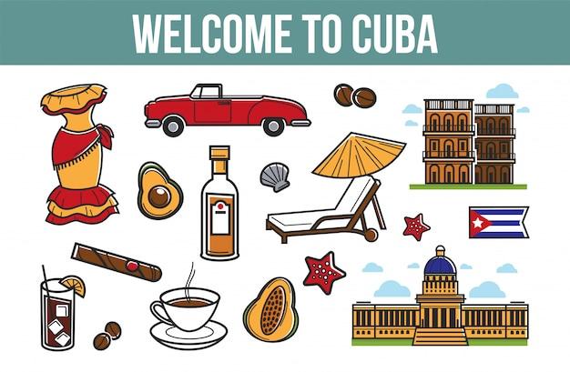 Bem-vindo aos elementos promocionais de cuba com símbolos culturais Vetor Premium