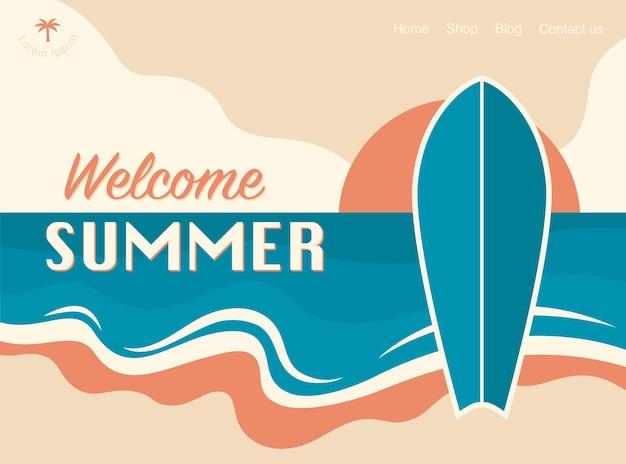 Bem-vindo banner de design de conceito de verão