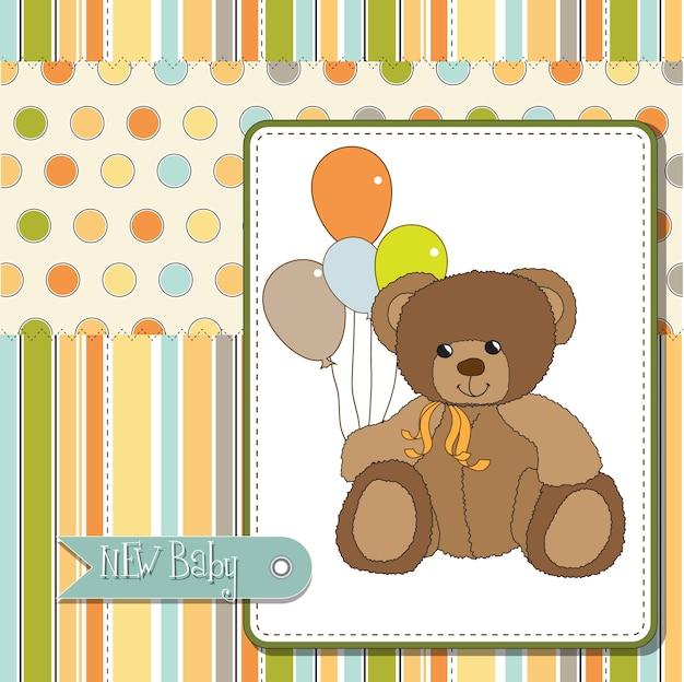 Bem-vindo bebê cartão com ursinho de pelúcia