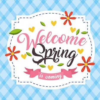 Bem vindo cartão de primavera
