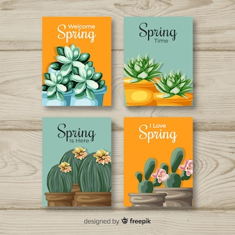 Bem-vindo coleção de cartões de primavera