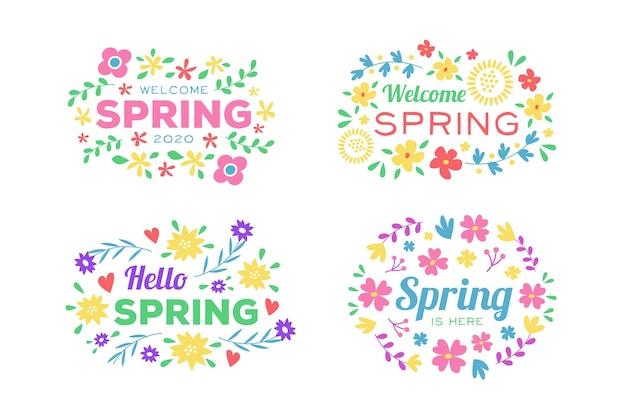Bem-vindo coleção distintivo de primavera com flores coloridas e folhas