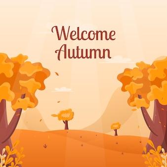 Bem-vindo conceito de fundo do outono