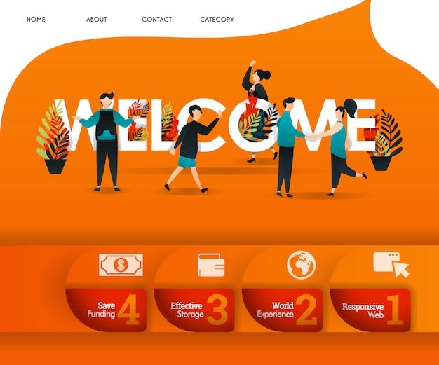Bem-vindo conceito de página de destino laranja