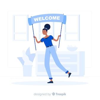 Bem-vindo, conceito, ilustração