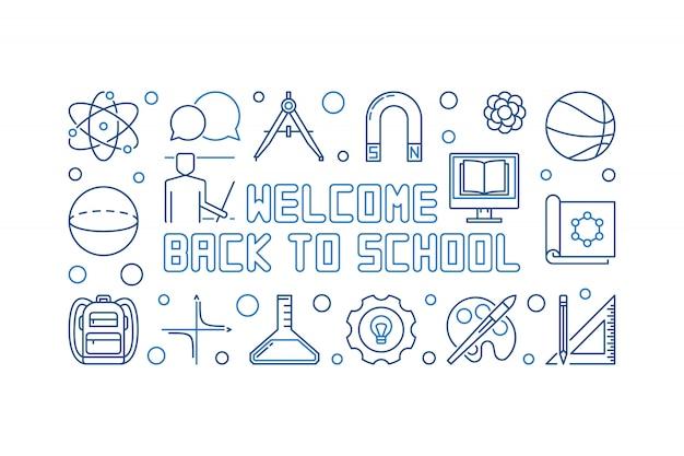 Bem-vindo, costas, para, escola, vetorial, azul, esboço, bandeira
