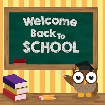 Bem-vindo de volta à escola com coruja