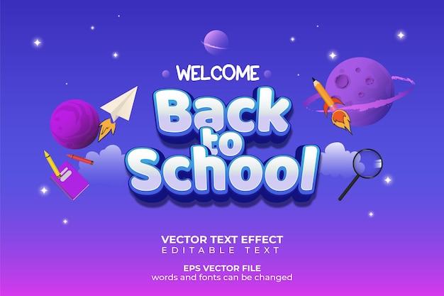 Bem-vindo de volta à escola com efeito de texto editável de fundo de planeta e espaço