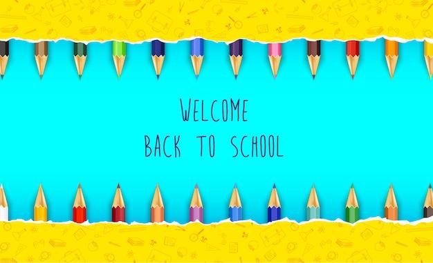 Bem-vindo de volta à escola com lápis de cor