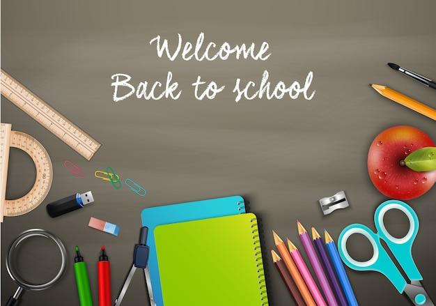 Bem-vindo de volta à escola com material escolar