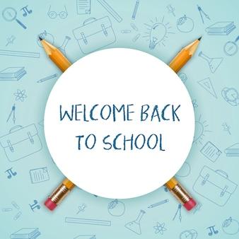 Bem-vindo de volta à escola com placa redonda e lápis