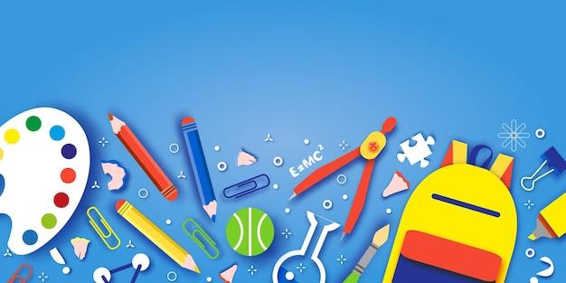 Bem vindo de volta à escola. conceitos de educação. crianças criativas. ciência, estilo de corte de papel de arte.