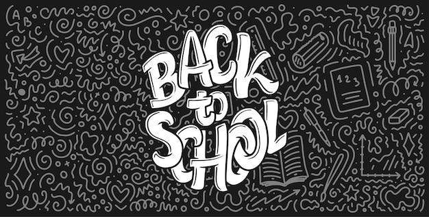 Bem-vindo de volta à escola letras citação e fundo do doodle.