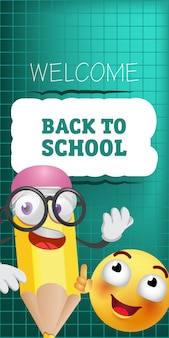 Bem-vindo de volta à escola letras com caráter de lápis de desenho animado