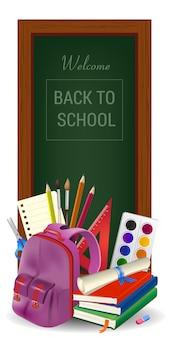 Bem-vindo de volta à escola letras em moldura de madeira, livros