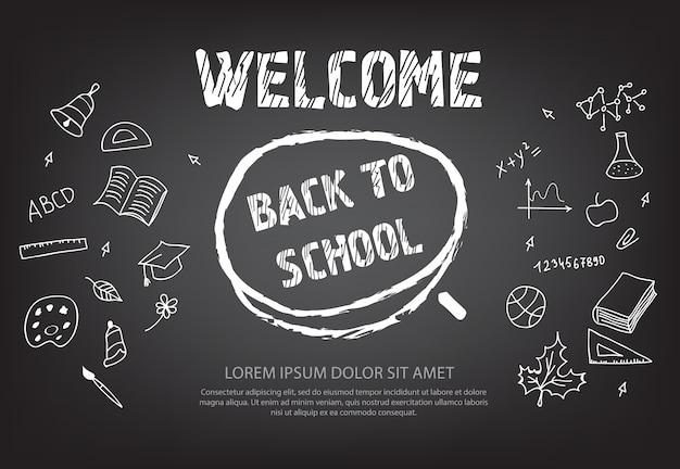 Bem-vindo de volta à escola letras no círculo de giz