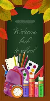 Bem-vindo de volta à escola letras no quadro, com folhas