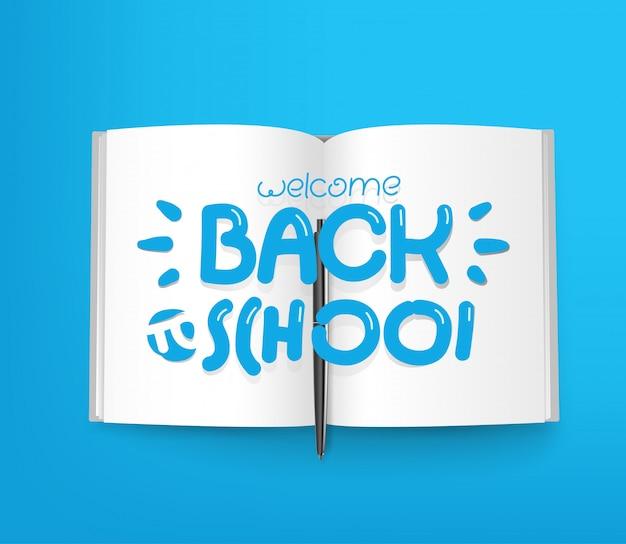 Bem-vindo de volta à escola, livro de papel com ícones de linha diferentes