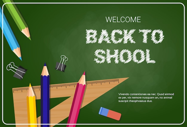 Bem-vindo de volta à escola poster lápis de cor-de-rosa e réguas