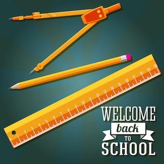 Bem-vindo de volta à escola saudação com régua, lápis e compasso. vetor