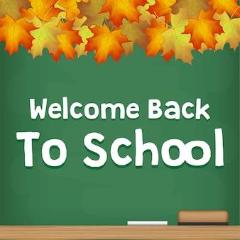 Bem-vindo de volta à estação de outono de quadro de escola