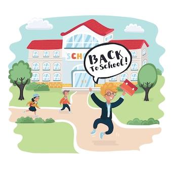 Bem-vindo de volta à ilustração da escola