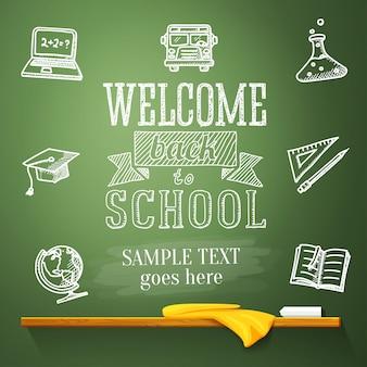 Bem-vindo de volta à mensagem da escola no quadro-negro