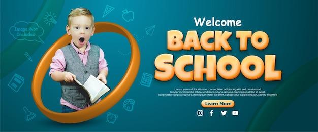 Bem-vindo de volta ao banner da escola com foto