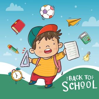 Bem-vindo de volta ao cartaz da escola com desenho de menino bonito